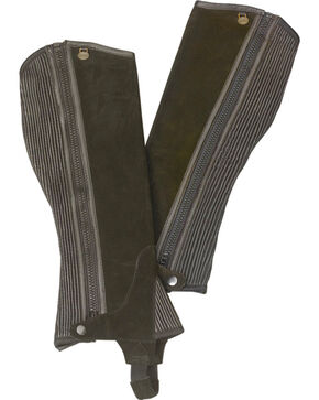 Ovation Kids' Ribbed Suede Half Chaps, Brown, hi-res