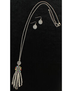 Blazin Roxx Concho Tassel Necklace & Earrings Set, , hi-res