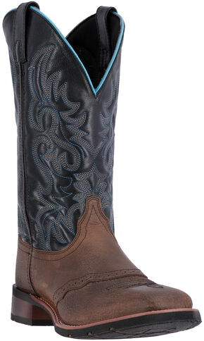 Laredo Topeka Cowboy Boots - Square Toe , Black, hi-res