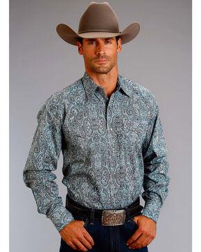 Stetson Men's Blue Paisley Long Sleeve Western Shirt , Blue, hi-res