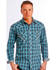 Rough Stock by Panhandle Slim Teal Plaid Barrow Western Shirt , , hi-res