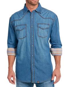 Cowboy Up Men's Thick Stitch Chambray Western Shirt, , hi-res
