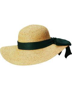 Scala Women's Natural Organic Raffia with Black Bow Sun Hat, , hi-res