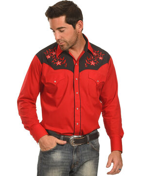 Ely Cattleman Men's Vine Embroidered Western Shirt , Red, hi-res
