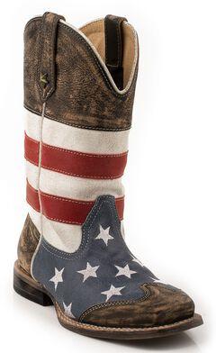 Roper Boys' American Flag Cowboy Boots - Square Toe, , hi-res