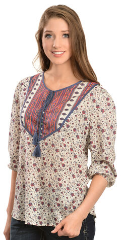 Red Ranch Women's Floral Tassel Top, , hi-res