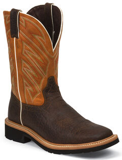 Justin Original Work Boots Rugged Chestnut Pull-On Hybred Work Boots - Square Toe , , hi-res