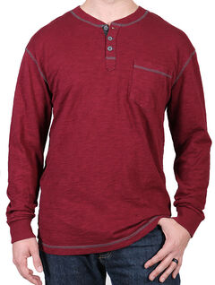 Moonshine Spirit Men's Maroon Solid Long Sleeve Henley , , hi-res