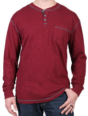Moonshine Spirit Men's Maroon Solid Long Sleeve Henley , Maroon, hi-res