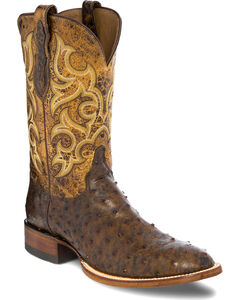 Justin Men's Full Quill Ostrich with Distressed Leather Cowboy Boots - Round Toe, , hi-res