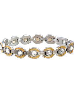 Sabona Ladies' Gold Plated Crystal Horseshoe Magnetic Bracelet, , hi-res