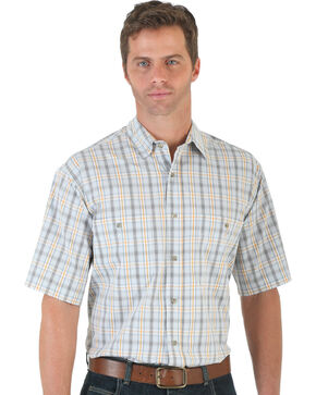 Wrangler Men's Gold & White Plaid Rugged Wear Wrinkle Resist Shirt - Big and Tall , White, hi-res