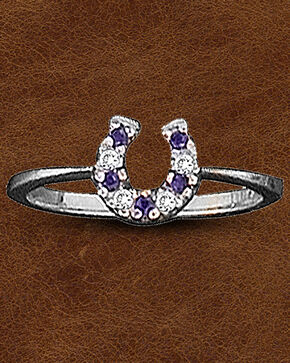 Kelly Herd Sterling Silver CZ Horseshoe Ring, Silver, hi-res