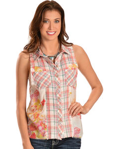 Miss Me Women's Plaid & Floral Sleeveless Button-Down Shirt, , hi-res