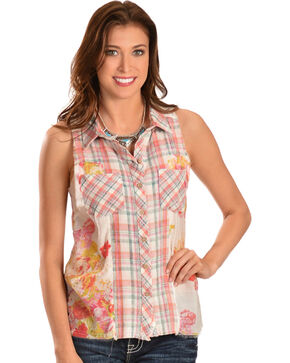 Miss Me Women's Plaid & Floral Sleeveless Button-Down Shirt, Pink, hi-res