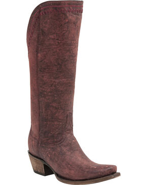 Lucchese Handcrafted 1883 Vera Distressed Cowgirl Boots - Snip Toe, Black Cherry, hi-res