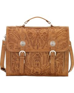 American West Tan Leather Stagecoach Laptop Briefcase, , hi-res