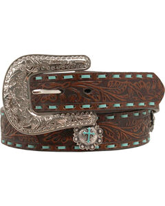 Nocona Embellished Turquoise Cross Concho Belt, , hi-res