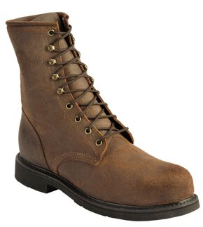 Justin American Tradition Lace-Up Work Boot - Steel Toe, Brown, hi-res