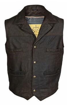 STS Ranchwear Men's Leather Ace Vest - 4XL, , hi-res