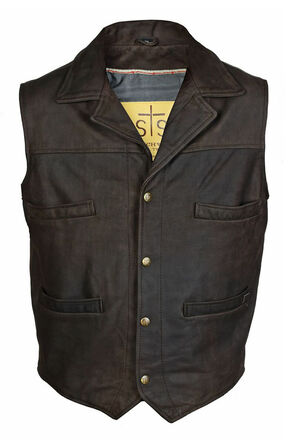 STS Ranchwear Men's Leather Ace Vest - 4XL, Brown, hi-res