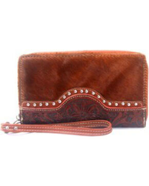 Montana West Trinity Ranch Tooled Wristlet, Brown, hi-res
