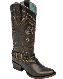 Corral Women's Copper Thunderbird Studded Harness Boots - Round Toe, , hi-res
