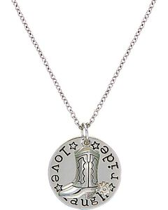 Montana Silversmiths Cowgirl Coin Charm Love, Laugh, Ride Necklace, , hi-res