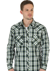 Wrangler 20X Men's Olive & White Plaid Shirt, , hi-res