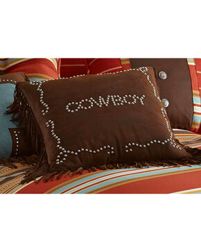 HiEnd Accents Brown Cowboy Studded Faux Leather Pillow, Multi, hi-res