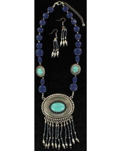 Blazin Roxx Turquoise Beaded Concho Necklace & Earrings Set, , hi-res
