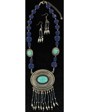 Blazin Roxx Turquoise Beaded Concho Necklace & Earrings Set, Blue, hi-res