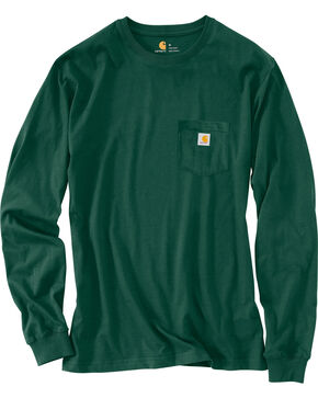 Carhartt Men's Logo Graphic Long Sleeve Pocket T-Shirt, Hunter Green, hi-res