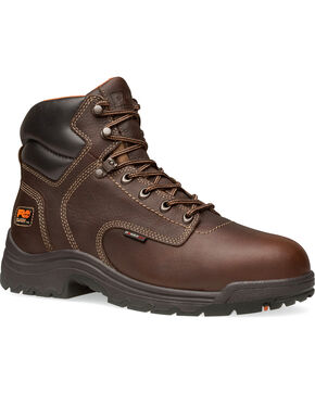 "Timberland Men's Pro Titan 6"" Work Boots - Composite Toe , Dark Brown, hi-res"