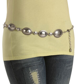 Tony Lama Classic Chain Belt, Silver, hi-res
