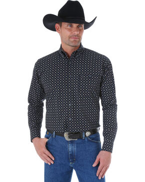 Wrangler George Strait Black and Grey Check Print Western Shirt , Grey, hi-res