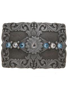 AndWest Men's Floral & Rhinestones Rectangle Belt Buckle, , hi-res