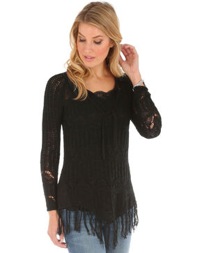Wrangler Women's Crocheted with Fringe Sweater, Black, hi-res