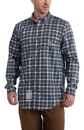 Carhartt Flame Resistant Classic Plaid Shirt - Big & Tall, Blue, hi-res