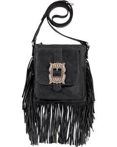 American West Eagle Black Leather Crossbody Bag , , hi-res