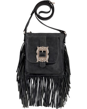 American West Eagle Black Leather Crossbody Bag , Black, hi-res