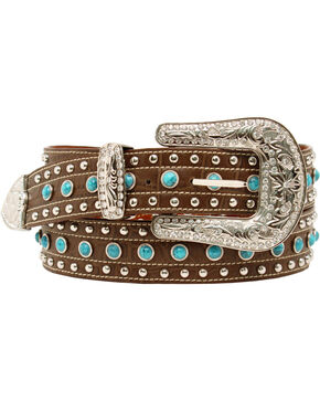 Blazin Roxx Turquoise Croc Print Belt, Brown, hi-res