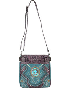 Savana Women's Turquoise Concho Cross Messenger Bag, , hi-res