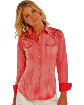 Rock & Roll Cowgirl Peach Embroidered Solid Shirt , Peach, hi-res