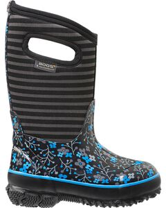 Bogs Kids' Classic High Black Flower Stripe Waterproof Boots, , hi-res