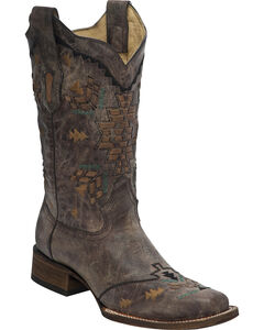 Corral Women's Laser Woven Cowgirl Boots - Square Toe, , hi-res