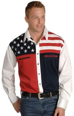 Scully Patriotic American Flag Colorblock Western Shirt, , hi-res