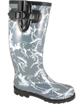 Smoky Mountain Women's Dancing Horses Waterproof Boots, Grey, hi-res