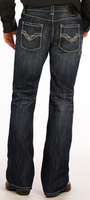 "Rock and Roll Cowboy Dark Wash ""V"" Pistol Jeans - Boot Cut , Indigo, hi-res"