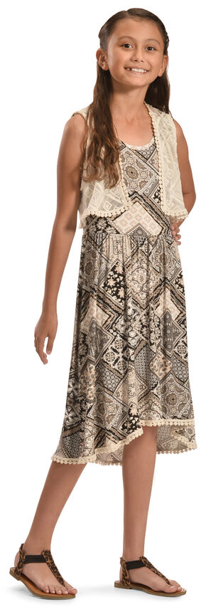 Jody of California Girls' Black Aztec Print Lace Dress , Black, hi-res